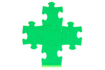 Five attached green puzzles