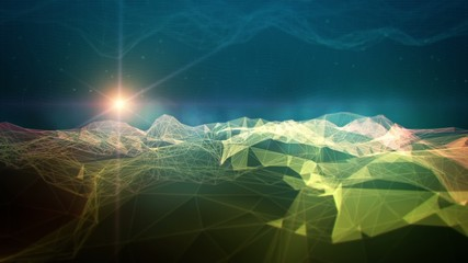 Polygon mountain 3D space digital landscape