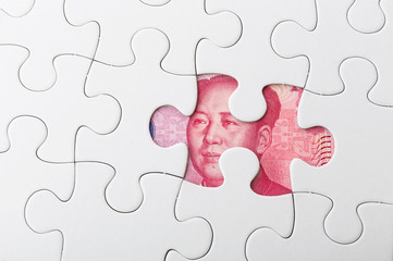 Missing puzzle piece with Chinese yuan