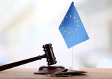 Gavel, money, passport and flag of Europe,