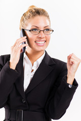 Portrait of businesswoman using a mobile phone
