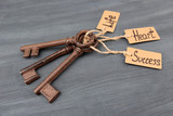Keys to happiness, Conceptual photo. On color wooden background