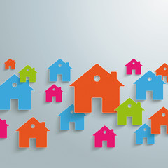 Colored Paper Houses Background PiAd