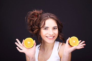 young woman with citrus.