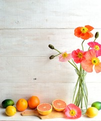 Citrus fruits and poppy
