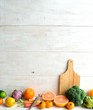 Vegetables,fruits with cutting board
