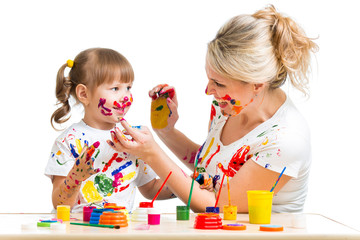 Mother and kid paint