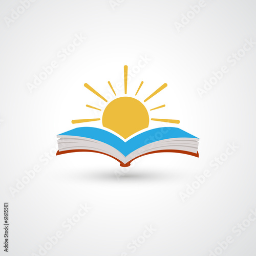 Sunset open book vector