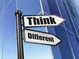 Education concept: sign Think Different on Building background poster