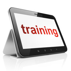 Education concept: Training on tablet pc computer