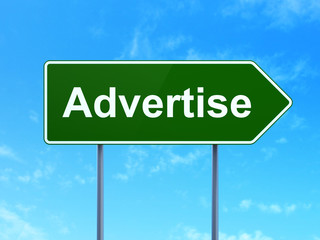 Advertising concept: Advertise on road sign background