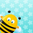 Cute bee on blue background