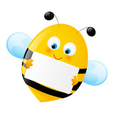 Cute bee with empty paper
