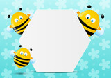Cute bees with paper sheet