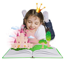 Little girl reading book and dreaming of princess castle