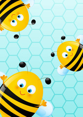 Cute bees on blue background