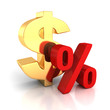 Big golden dollar symbol and red percent sign on white with refl