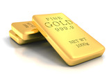 Set of gold shiny bullion bars on white reflection background