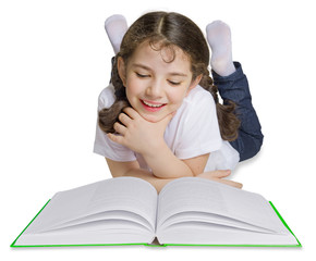 School girl reading book, studio isolated