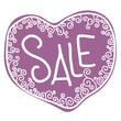 Purple sale tag in form of heart