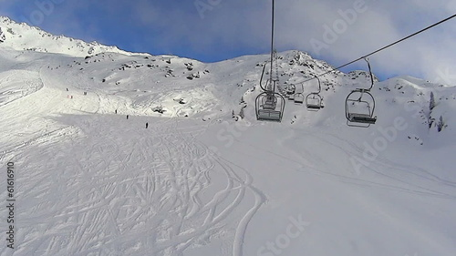 Ski lift chairs on hillside, Alps, Zillertal, Austria