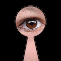 Man see you! - man looking through keyhole