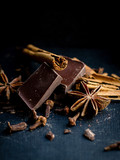cinnamon sticks, chocolate and star anise