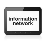 Information concept: Information Network on tablet pc computer
