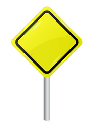Blank Yellow Sign isolated on white background