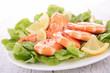 shrimps and salad