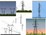 set of different electric towers