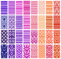 Tribal colorful lace patterns. Vector illustration.