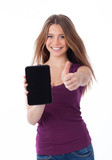 Positive woman holding a touchpad