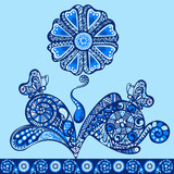Flower fancy pattern blue