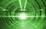 Abstract green shining tunnel interior with neon lights