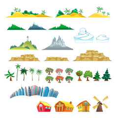 Set of trees, mountains, hills, islands and buildings.