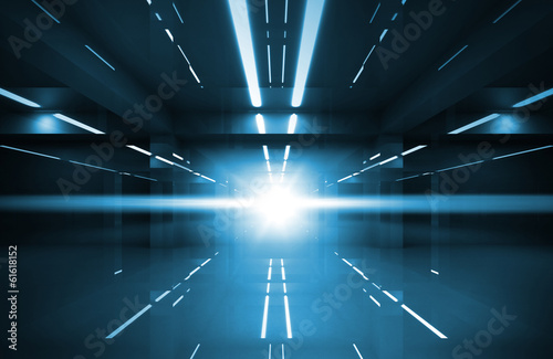 Abstract blue shining interior perspective with neon lights