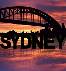 Sydney skyline reflected with text sunset illustration