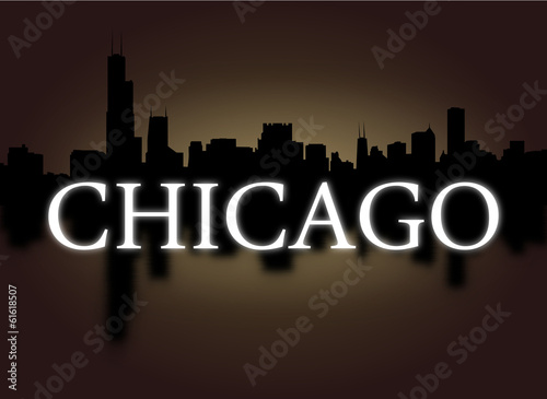 Chicago skyline reflected with dramatic sky illustration