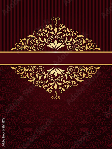 Vector greeting card with golden frame in vintge seamless patter