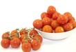 Fresh red cherry tomatoes on the plate and branch