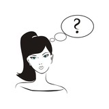 Vector confused woman with question mark in speech bubble