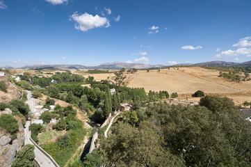 Views of Andalusian countryside from Ronda town, Malaga, Spain