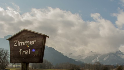 Tirol  rooms for rent sign and mountains time lapse