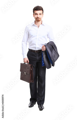 businessman walking with case, isolated on white