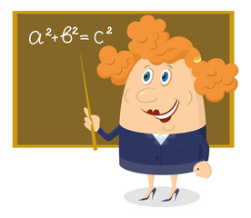 Teacher woman with blackboard