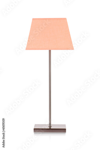 Orange color table lamp isolated on white background