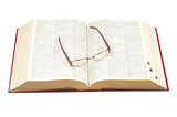 Open dictionary and eyeglasses