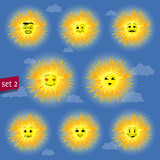 sunny faces emoticon character set 02