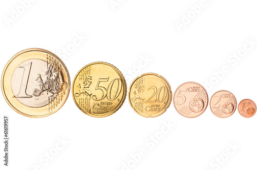 Row of euro coins on white background